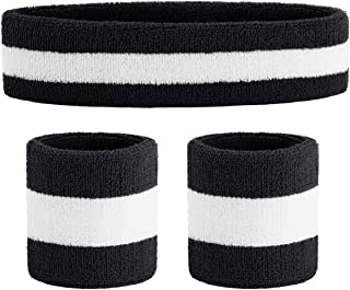 Sweatband Set Sports Headband Wristband Set Sweatbands Terry Cloth Wristband Wrist Sweatband Headbands Moisture Wicking Sweat Absorbing Head Band