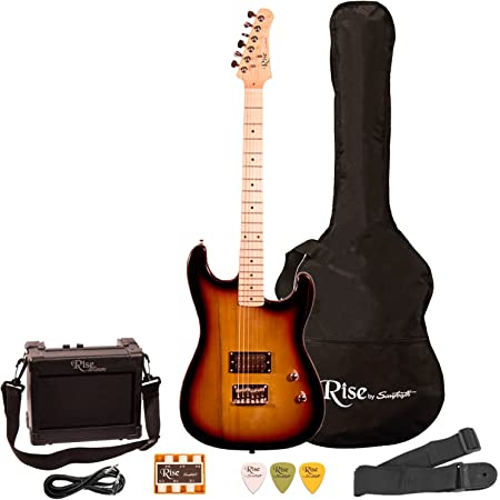 Rise by Sawtooth Right Handed 3/4 Size Beginner Electric Guitar Kit, Sunburst