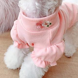 N / A Perro Mascota Ropa De Primavera Y Verano Ropa con Bordado De Flores Ropa con Mangas De Burbujas Rosa Y Amarillo Cami...