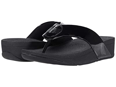 FitFlop Demelza Logo Toe-Post Sandals (All Black) Women