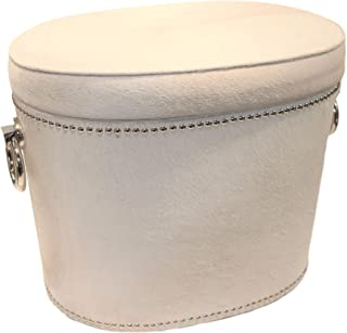 Global Views Elegant Hair on Hide White Silver Ring Bench | Storage Leather Natural Large