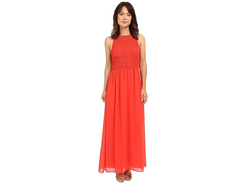 MICHAEL Michael Kors Smock Halter Maxi Dress (Coral Reef) Women