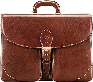 Maxwell Scott Luxury Italian Men's Leather Briefcase - Tomacelli3 Tan