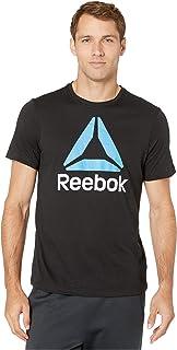 تي شيرت بأكمام قصيرة للرجال من Reebok مطبوع عليه شعار مكدس