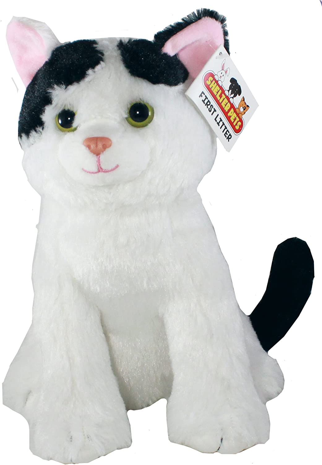 Shelter Pets Series One  Nibbles The Cat  10  White and Black Kitten Plush Toy Stuffed Animal  Based on RealLife Adopted Pets  Benefiting The Animal Shelters They were Adopted from