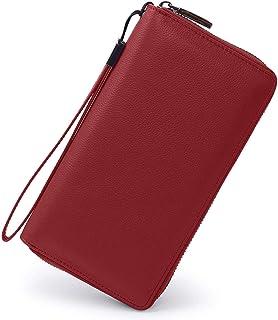 レディース財布 本牛革 RFID&磁気スキミング防止 スマホ入れ可 ラウンドファスナー長財布 (大容量 カード17枚収納 多機能)