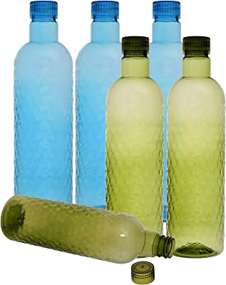 Kuber Industries Plastic 6 Pieces Hammer Fridge Water Bottle Set with Lid (1000ml, Sky Blue & Green)-KUBERMART402