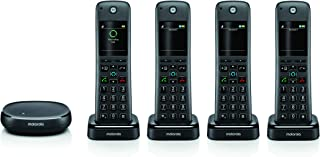Motorola AXH04 Smart Wireless Home Telephone System with Alexa Built-in and Speaker Phone – 4 Cordless Phone Handsets Included