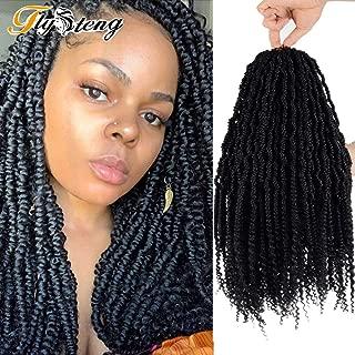 18 inch pretwisted spring twist crochet hair 6 piece senegalese crochet twists Black spring twist hair crochet braid hair 24 stands/pack (18INCH6Packs, 1B)…