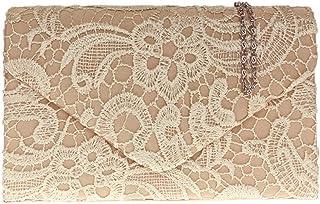Damen Satin Spitze Handtasche Schulter Ketten elegante Hochzeits Abend-Frauen - Gold