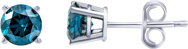 1.0 Carat Diamond, 14kt Blue Diamond Stud Earring In 14K White Gold. (Color - I-J) (Clarity - I2-I3) by La4ve Diamonds | Real Diamond Earrings For Women | Gift Box Included