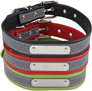 CozyCabin Personalized Reflective Dog ID Collar, Customized PU Leather Adjustable Pet Collars Engraving with Pet Name & Phone Number - for Small, Medium and Large Dogs