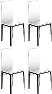 Miroytengo Pack 4 sillas Saona Blanco Polipiel Estilo contemporaneo Comedor Salon Cocina Modernas 97x51x42