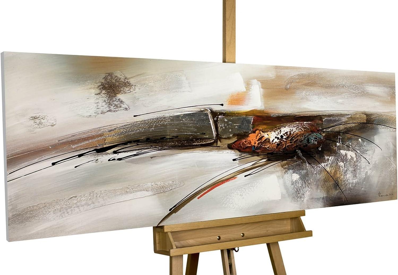 KunstLoft Acryl Gemälde 'Bridge to to to You' 150x50cm   Original handgemalte Leinwand Bilder XXL   Abstrakt Grau Weiß Orange   Wandbild Acrylbild Moderne Kunst Einteilig mit Rahmen B07DDL2RC1 f4e080