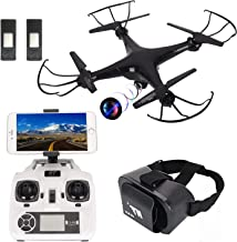 Camera Drone with VR Headset,HT Drone Quadcopter with Altitude Hold,App Controlled Hover Drone with Bonus Battery Drone with Camera for Kids and Beginners
