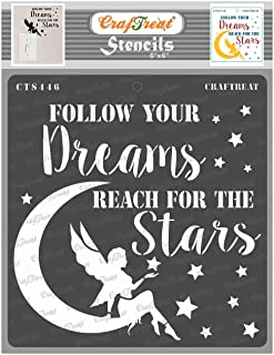 Craftreat Quotes Stencils for Craft - Reach for The Stars - 6X6 Inches - Reusable DIY Stencils for Wall Painting Star- Nat...