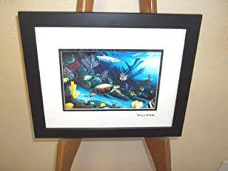 By Wyland Living Reef (Turtle) Double Matted GoldFoil Stamp Framed