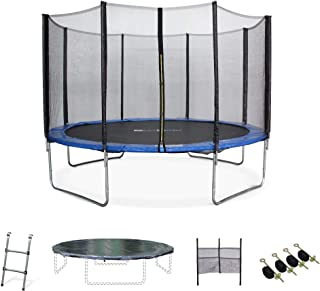 ALICE'S GARDEN - Garden Trampoline - Saturne 12ft Trampoline with Safety Enclosure Netting - Blue - PRO Quality | EU Standards