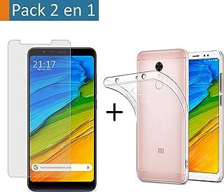 a42bd080459 (Pack 2 En 1) Funda Gel Transparente + Protector Cristal Templado para  Xiaomi Redmi