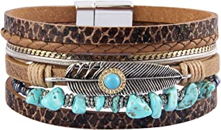 Jenia Womens Leather Cuff Bracelets Feather Wrap Bracelet...