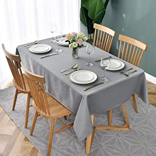 maxmill Jacquard Table Cloth Geometric Pattern Spillproof Wrinkle Resistant Oil Proof Heavy Weight Soft Tablecloth for Kitchen Dinning Tabletop Decoration Rectangle 52 x 70 Inch Silver Grey