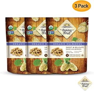 ORGANIC Turkish Dried Mulberries - Sunny Fruit - (5) 1.06oz Portion Packs per Bag | Purely Mulberries - NO Added Sugars, Sulfurs or Preservatives | NON-GMO, VEGAN & HALAL (Pack of 3)