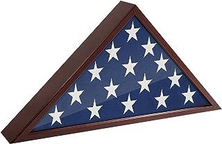 Best Americanflat Mahogany Veterans Flag Case - Fits a folded flag of 5