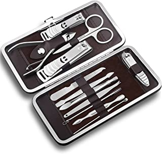 Hanlesi Nail Clippers, Kit de Herramientas para uñas encarnadas 12 piezas de acero inoxidable Grooming Nail Scissors Cuida...