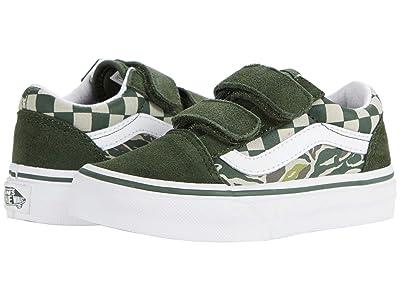 Vans Kids Old Skool V (Little Kid) ((Camo Checkerboard) Kombu Green/True White) Boys Shoes