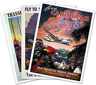 SET of THREE (3) Tropical PAN AMERICAN World Airways Prints - each measures 18