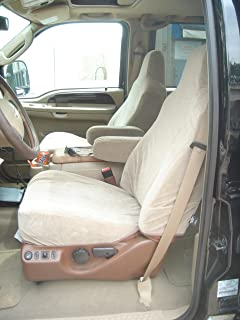 Exact Seat Covers, F55 V4, 2002-2010 Ford F250-F550 Front High Back Bucket Seats with Molded Headrests and Squared Shoulders. One Armrest Per Seat, Taupe Velour