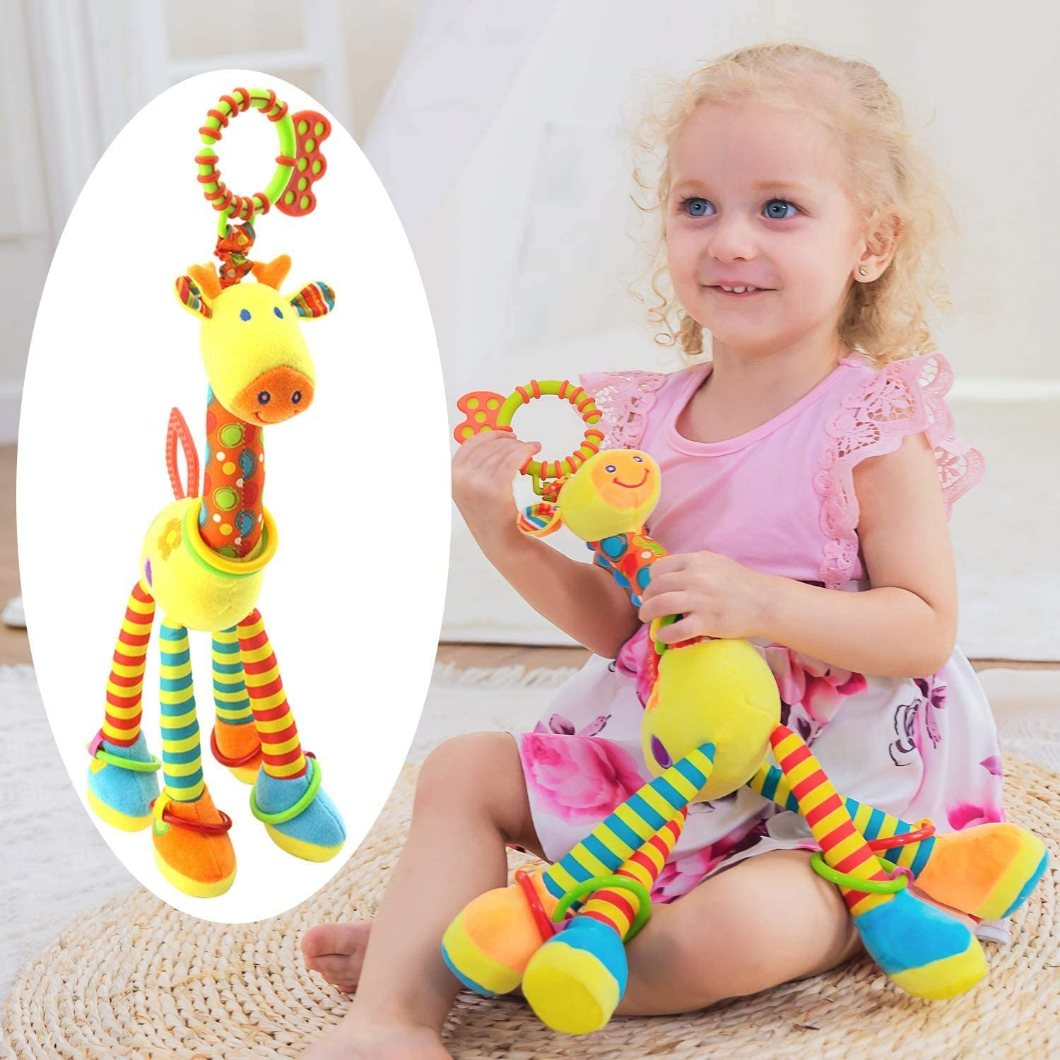 Car Seat Toys, Baby Toys 3-6 Months, Hanging Baby Toys, Stroller Toys Baby Rattles 0-11 Months for Baby Stroller Colorful Animal Bell Rattle for Infants Sensory Toys Baby Musical Toys Soft Kids Crib