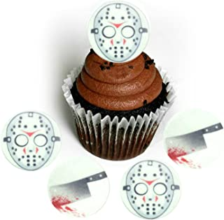 Halloween Serial Killer Hockey Mask Bloody Hatchet Jason Wafer Paper Toppers 1.5 Inch for Decorating Desserts Cupcakes Cakes Pack of 24