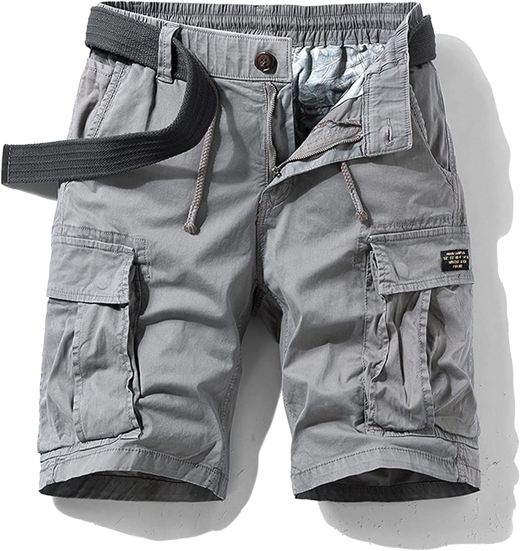 Zhang Q Spring Men Cotton Cargo Shorts Clothing Summer Casual Breeches Bermuda Fashion Beach Pants Los Cortos Short-Gray1-33