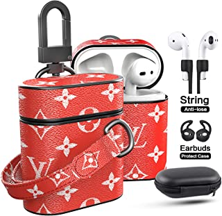 Airpods Case with Hand Strap Lanyard Keychain Clip, Jansae Original Designer Cute Leather Airpod Case Accessories Kits Compatible Apple Airpods 1/2 Wireless Charging Case (Red/Flower)