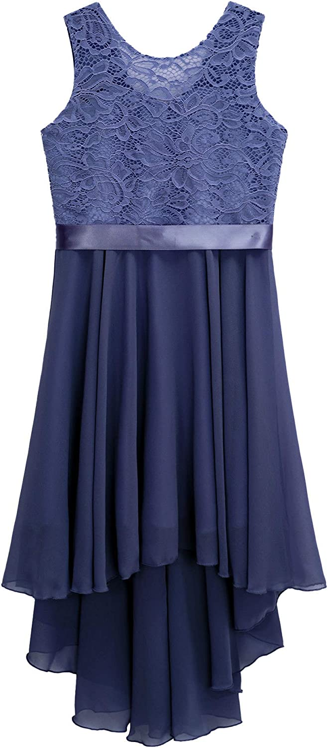 YOOJIA Kids Girls Floral Lace High Low Special Occasion Dresses Sleeveless Chiffon Dress for Bridesmaid Wedding Party