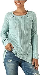 LEKODE Sweater Women's Crewneck Solid Long Sleeve Knit
