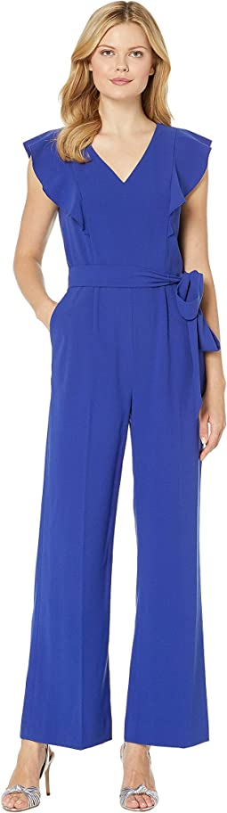Ruffle Shoulder Crepe Jumpsuit