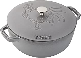 Staub Cast Iron 3.75-qt Essential French Oven Rooster - Graphite Grey