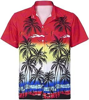 FAPIZI Men's Hawaiian Aloha Shirt Short Sleeve Tropical Floral Print Button Down Beach Shirt Front-Pocket T-Shirt Tops