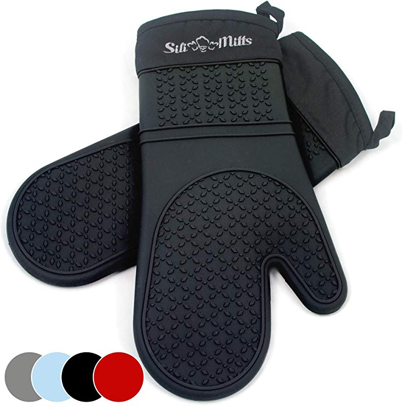 Black Silicone Oven Mitts 1 Pair Of Extra Long Professional Heat Resistant Pot Holder Baking Gloves Food Safe BPA Free FDA Approved With Soft Inner Lining