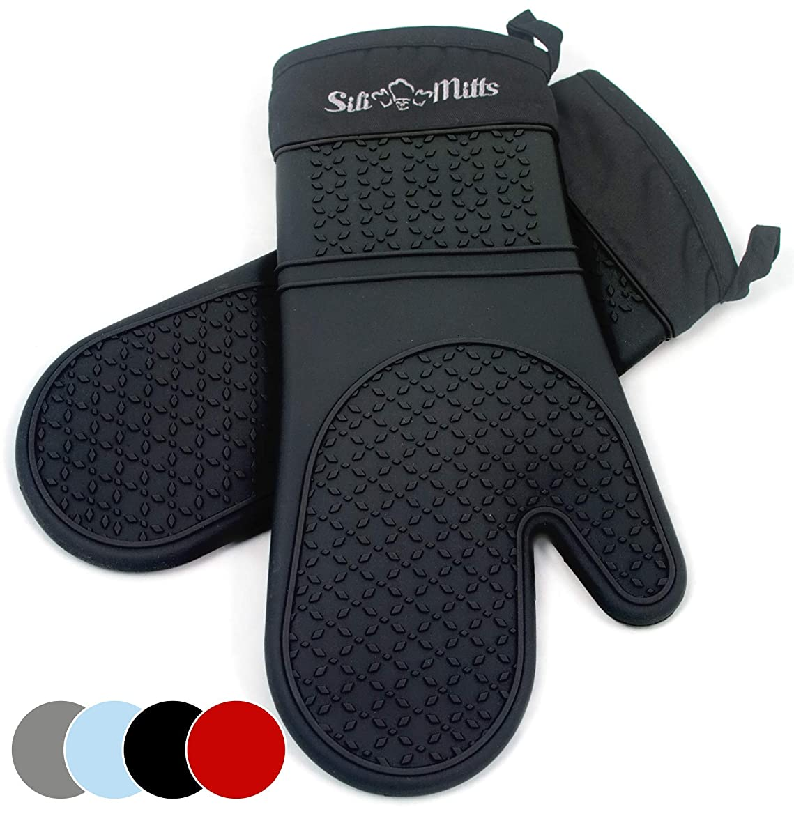 Black Silicone Oven Mitts - 1 Pair of Extra Long Professional Heat Resistant Pot Holder & Baking Gloves - Food Safe, BPA Free FDA Approved With Soft Inner Lining