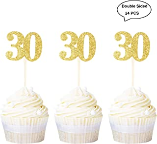 Newqueen 24 Pack Double Sided Glitter 30th Birthday Cupcake Toppers Gold Number 30 Cupcake Picks Wedding Anniversary Party Cake Decorations