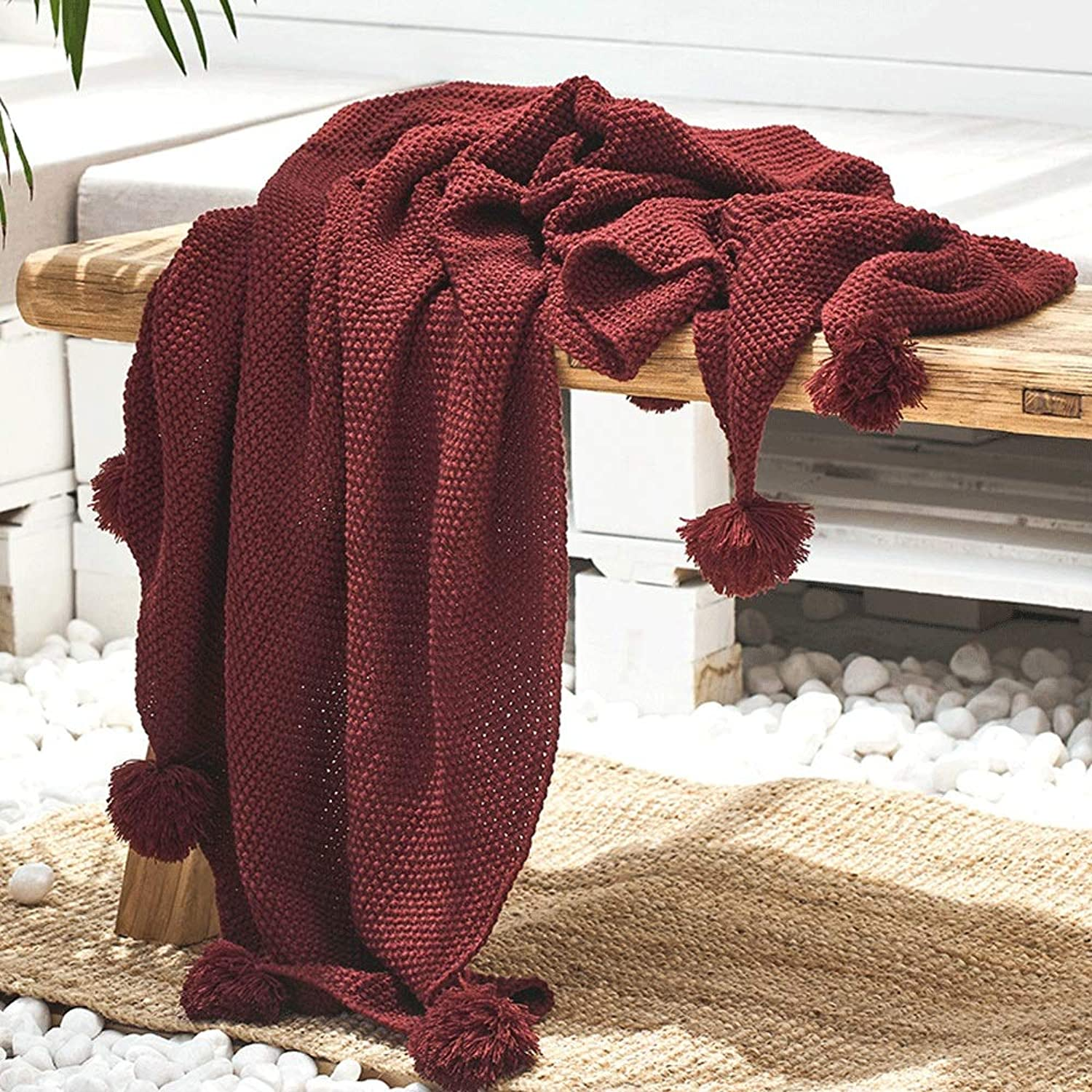 AUMING Mantas para sofás acogedora y Ligera Ropa de Cama Cable Knit Throw Manta for sofá Sillas Cama Beach 130cmx160cm (Color   Wine rojo, Talla   130cmx160cm)