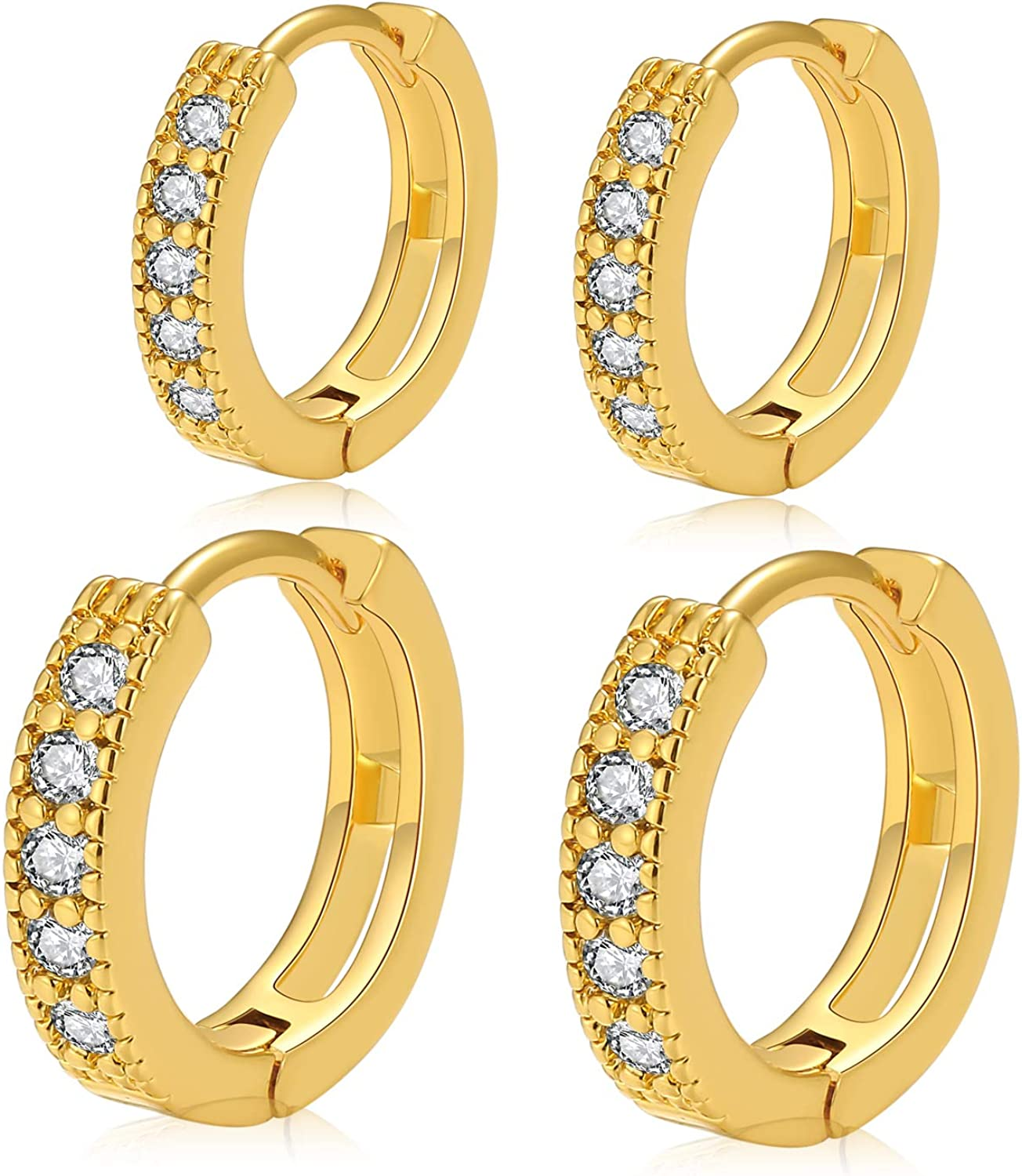 14k Real Gold Plated Cubic Zircon Earring Hoop Max 60% Dedication OFF Huggie Small Fash