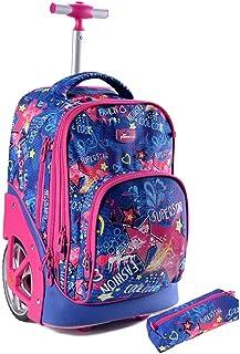 "Jasmine Star 20"" Children New Kids' School Satchel Roller Handbag Trolley Bag, Star"