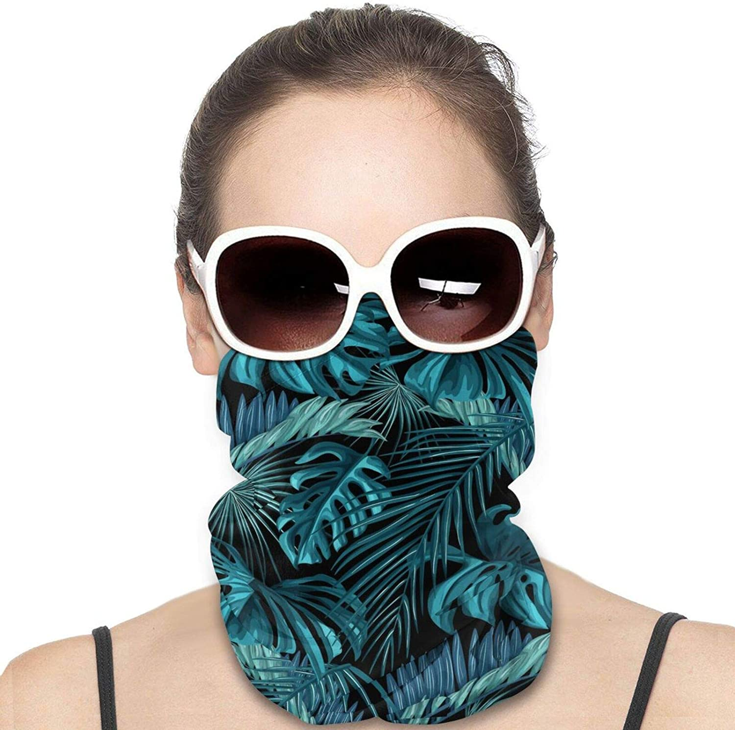 Tropical Leaves Neck Gaiter Windproof Face Cover Balaclava Outdoors Magic Scarf Headband for Men Women Motorcycling Fishing Running Climbing