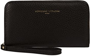 Adrienne Vittadini Charging Wristlet Wallet: Smartphone Zip Wallet Case with Phone Battery Charger Power Bank for Women and Girls - Black Pebble