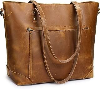 S-ZONE Vintage Genuine Leather Shoulder Laptop Bag Work Totes for Women Purse Handbag with Back Zipper Pocket