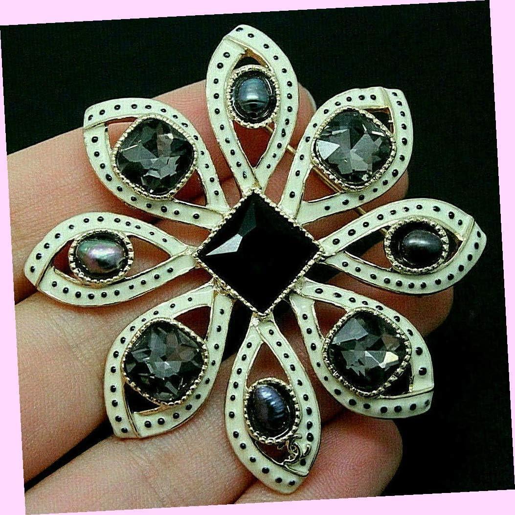 Fabulous Dynamic Swirling Star 35% OFF Flower Rhinestone Black Max 61% OFF Des White